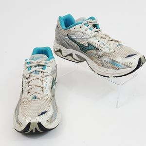 Mizuno Womens Wave Rider Aqua Teal Athletic Shoes